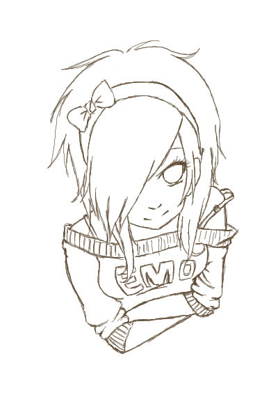 anime girl coloring pages emo - photo#1